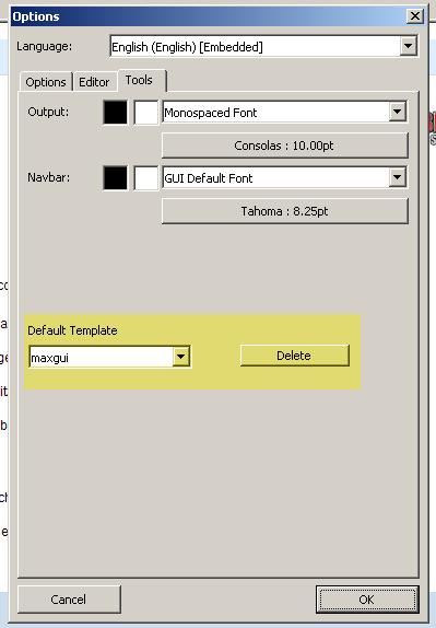 New options panel, with template choose
